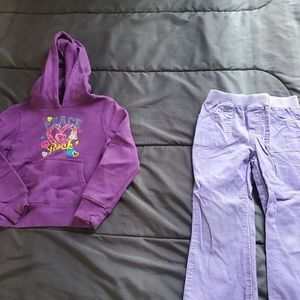 girl 4t lavendar pants, purple hoodie
